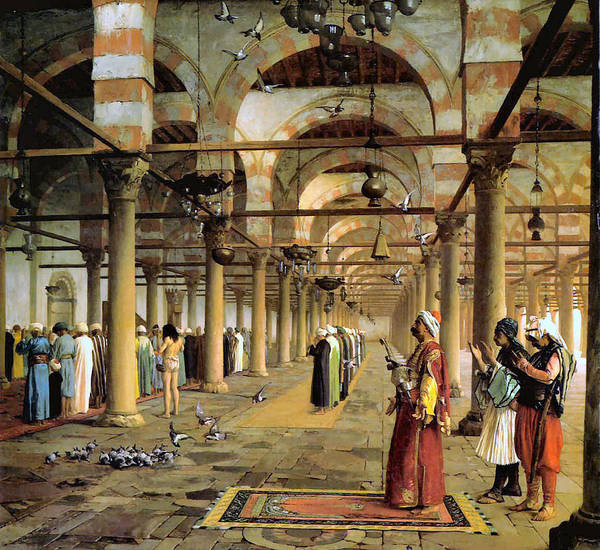 Public Prayer In The Mosque Art Print featuring the digital art Public Prayer In The Mosque by Jean Leon Gerome