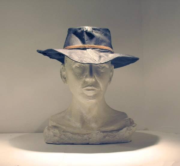 Cowboy Portrait Photograph Art Print featuring the sculpture The Cowboy by Flow Fitzgerald