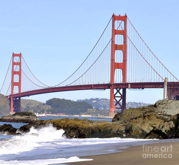 Golden Gate Bridge Art Print featuring the photograph Golden Gate On A Sunny Day by Kim Frank