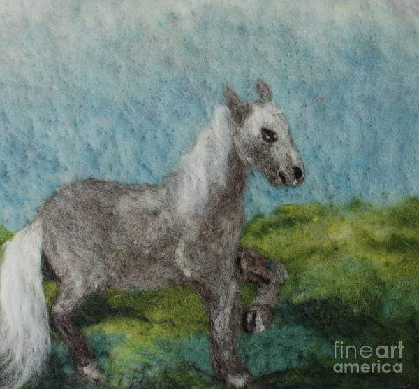 Needle Art Print featuring the tapestry - textile Grey Horse by Nicole Besack