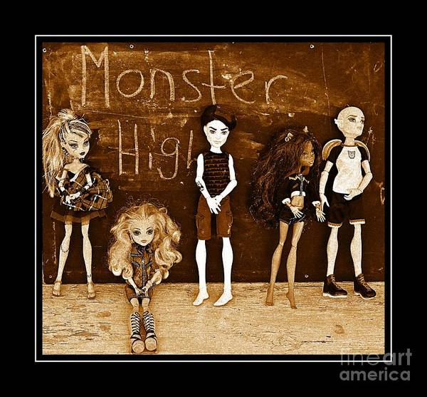 Monster High Art Print featuring the digital art Sarah's Monster High Collection Sepia by Barbara Griffin