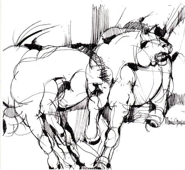 Horse Art Print featuring the drawing Horses by Maria Grazia Repetto