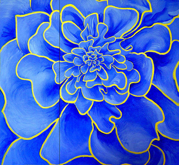 Diptych Art Print featuring the painting Big Blue Flower by Geoff Greene