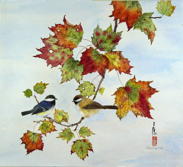 Bird Art Print featuring the painting Birds On Maple Tree 9 by Ying Wong