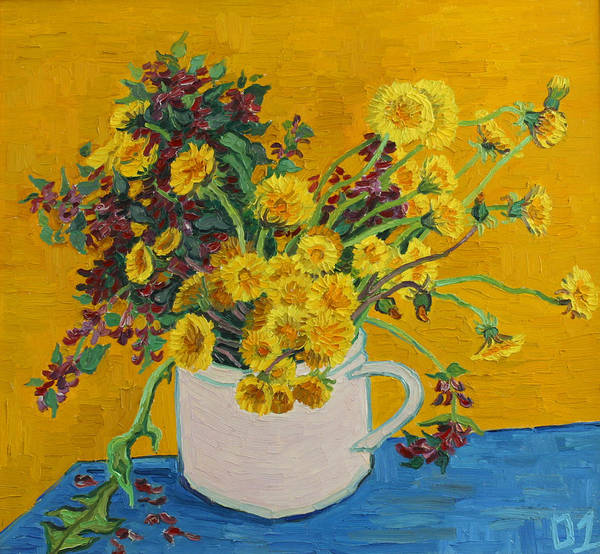 Flowers Art Print featuring the painting Bouquet Of Dandelions And Wild Flowers by Vitali Komarov