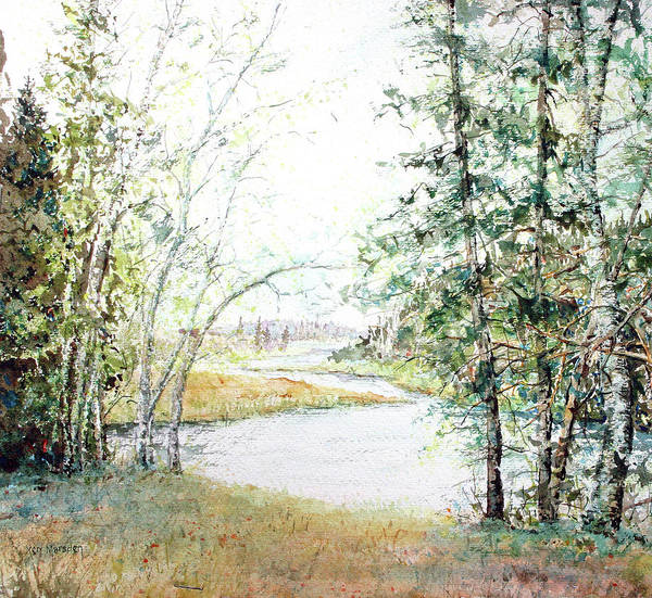 Watercolor Print featuring the painting Brule River by Ken Marsden