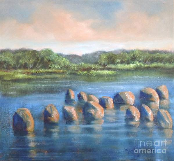 Clear Reflection Art Print featuring the painting Cross Of Rocks by Randy Burns