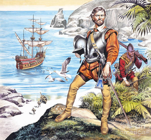 Francis Art Print featuring the painting Francis Drake And The Golden Hind by Ron Embleton