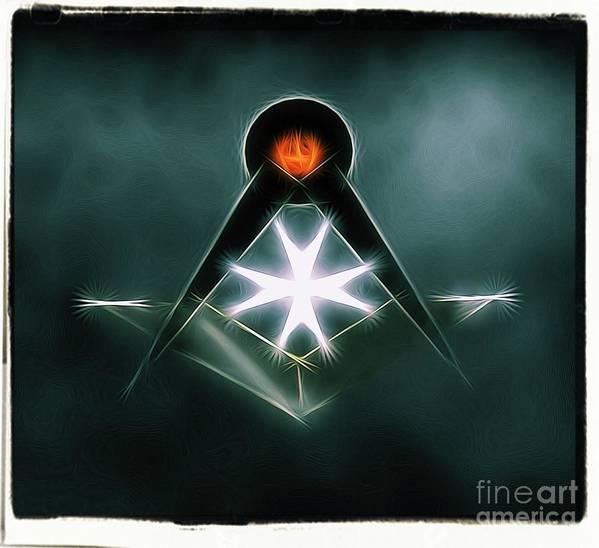 Freemason Art Print featuring the digital art Freemason Symbol By Raphael Terra by Raphael Terra