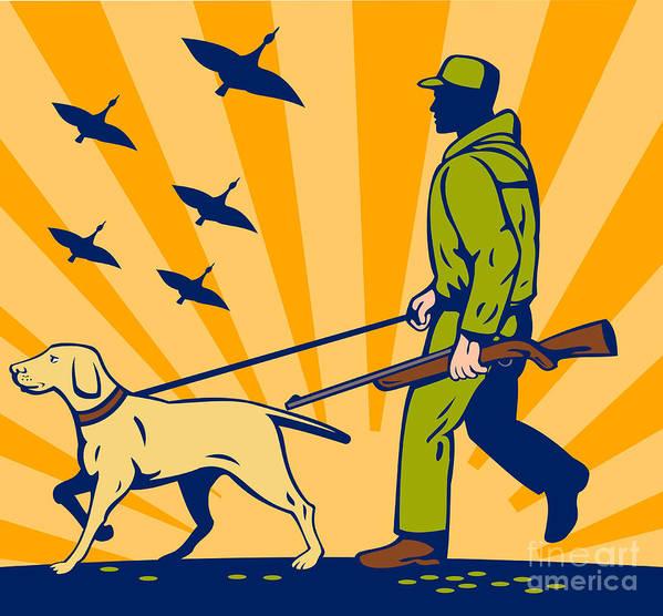 Dog Art Print featuring the digital art Hunting Gun Dog by Aloysius Patrimonio