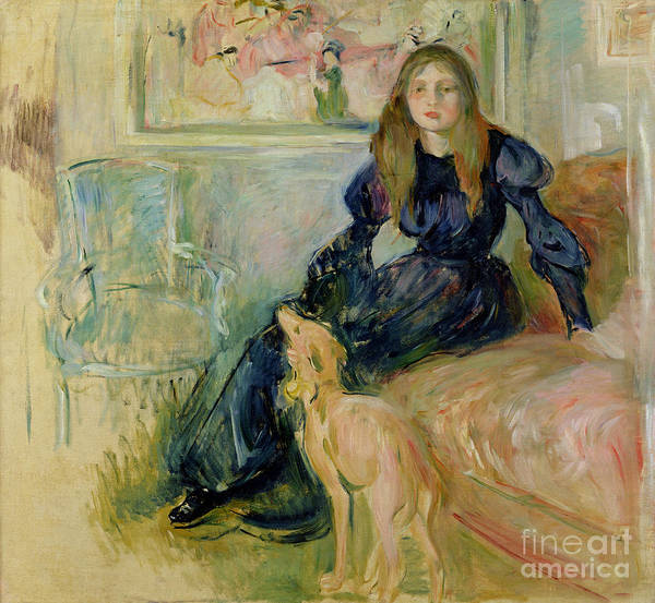 Julie Print featuring the painting Julie Manet And Her Greyhound Laerte by Berthe Morisot