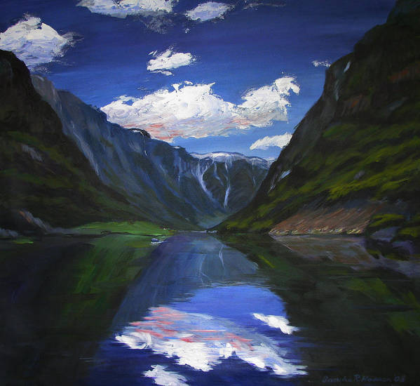 Landscape Art Print featuring the painting Majestic Fjords by Art Nomad Sandra Hansen
