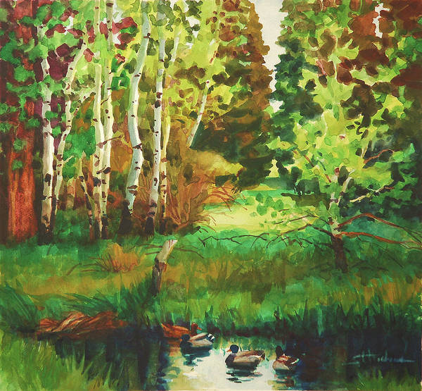 Country Art Print featuring the painting Mallard Grove by Steve Henderson