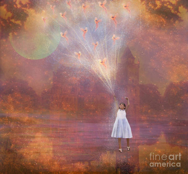 Fairyland Art Print featuring the painting Off To Fairy Land - By Way Of Fairyloons by Carrie Jackson