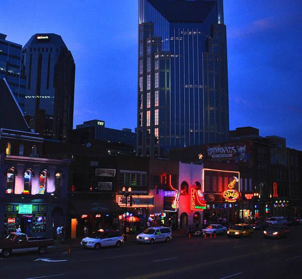 Nashville Photos Art Print featuring the photograph On Broadway In Nashville by Susanne Van Hulst