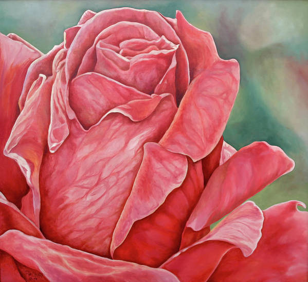 Oil Painting Art Print featuring the painting Red Rose 93 by Steven Ward