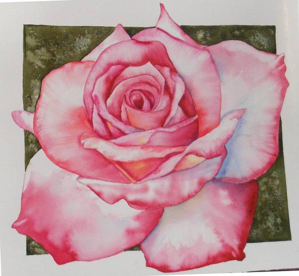 Red Art Print featuring the painting Rose 3 by Diane Ziemski