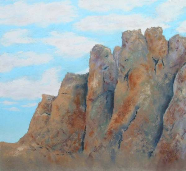 Landscape Art Print featuring the painting Smith Rock by Carl Capps