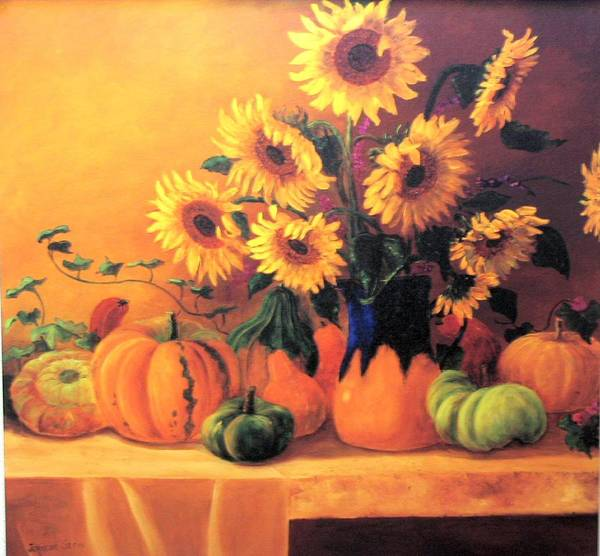 Sunflowers Art Print featuring the painting Sunflowers And Squash by Jeanene Stein