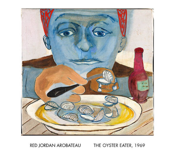 Oysters Art Print featuring the painting The Oyster Eater by Red Jordan Arobateau