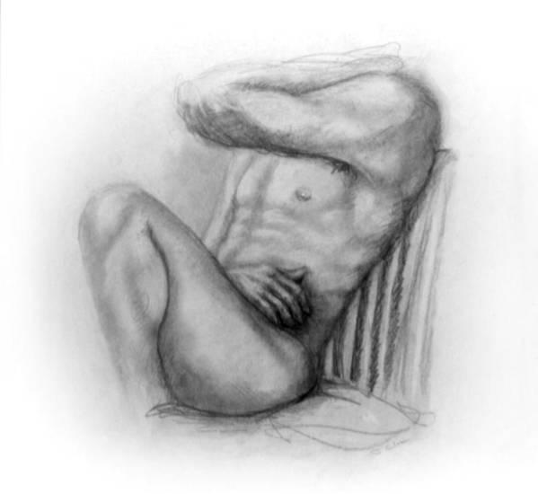 Man Art Print featuring the drawing Torso Chris I by John Clum