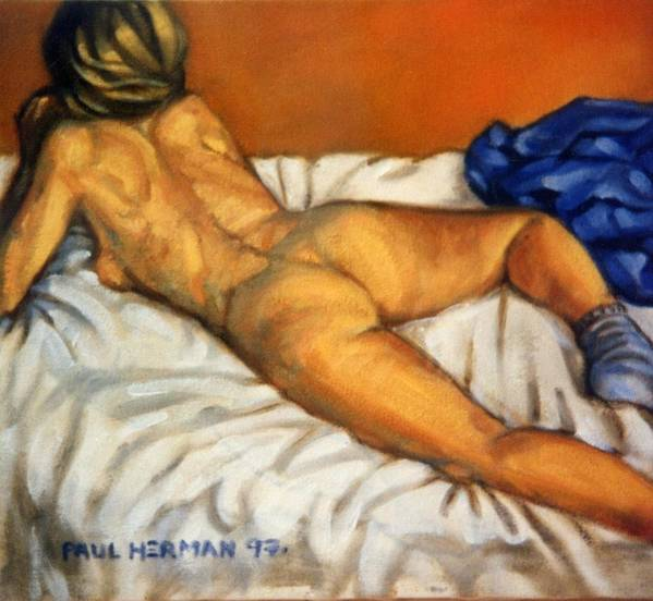 Nude Art Print featuring the painting Watching Television by Paul Herman
