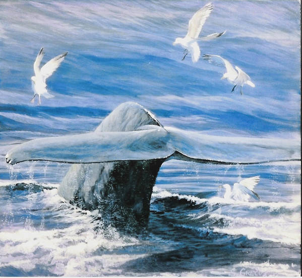 Wildlife Art Print featuring the painting Whale by Steve Greco