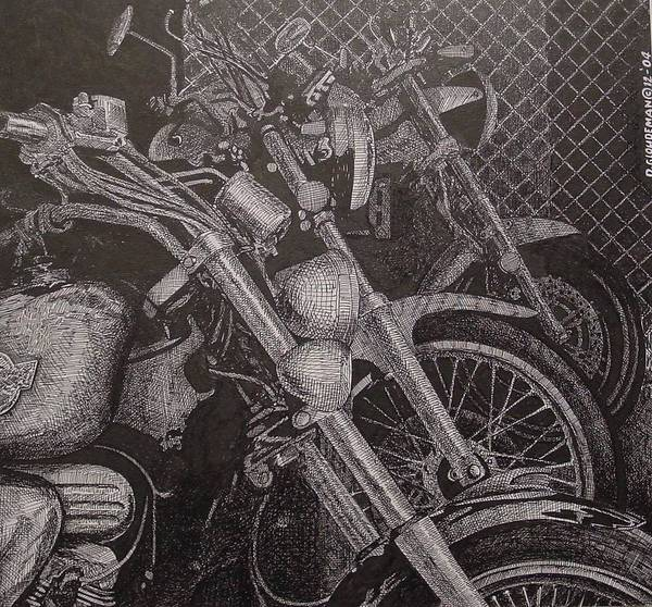 Motorcycles Art Print featuring the drawing Bikes by Denis Gloudeman
