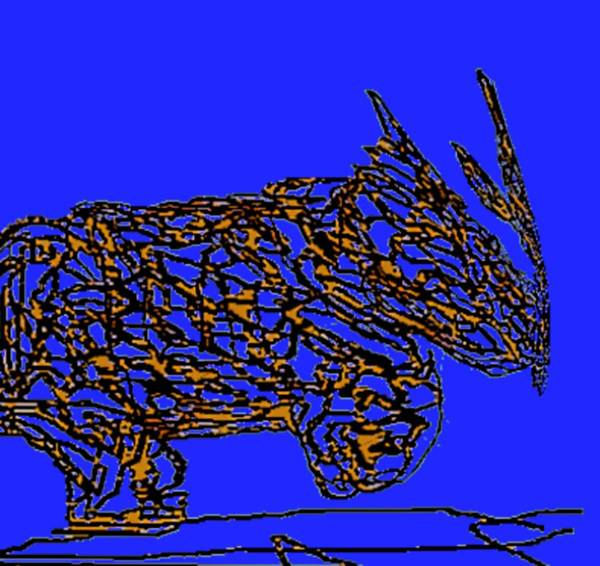Rhino Print featuring the digital art Charging Rhino by Jamie ian Smith