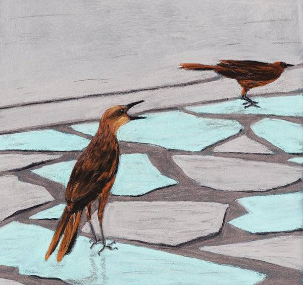 Death Valley Art Print featuring the painting Death Valley Birds by Anastasiya Malakhova