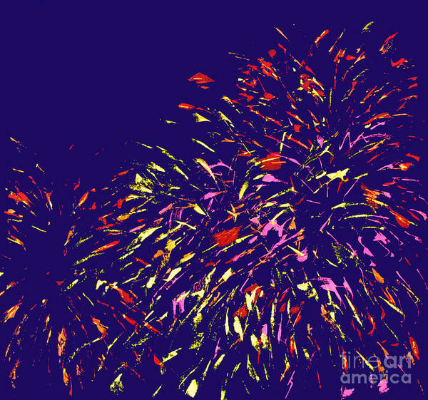 Abstract Art Print featuring the painting Fireworks by Elizabeth Blair-Nussbaum