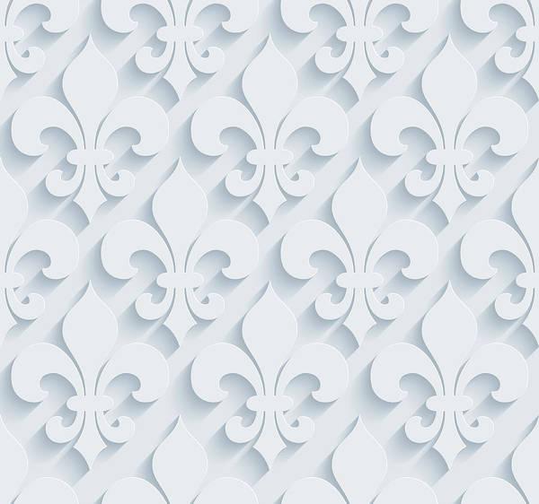 Fleur De Lys 3d Seamless Wallpaper Pattern Art Print