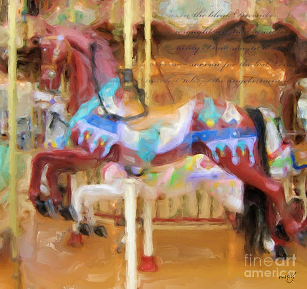 Art;carousel Horse;horse;brown;carousel;digital Painting;digital Art;unique;one Of A Kind Art Print featuring the digital art Fun For All by Ruby Cross