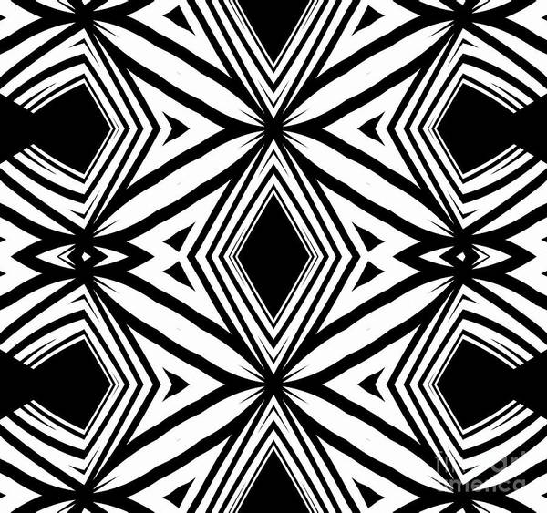 Black and white pattern art print featuring the digital art geometric pattern black white artwork print