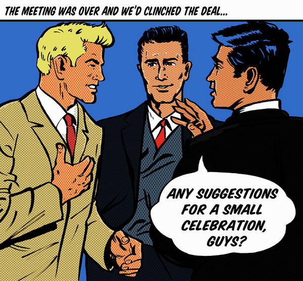 Corporate Business Art Print featuring the digital art Happy Businessmen With Speech Bubble by Jacquie Boyd