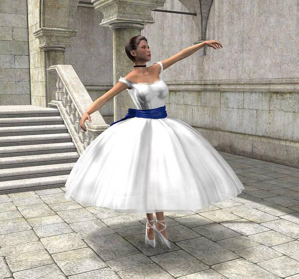 Ballet Art Print featuring the digital art Lone Ballet Dancer by Jayne Wilson