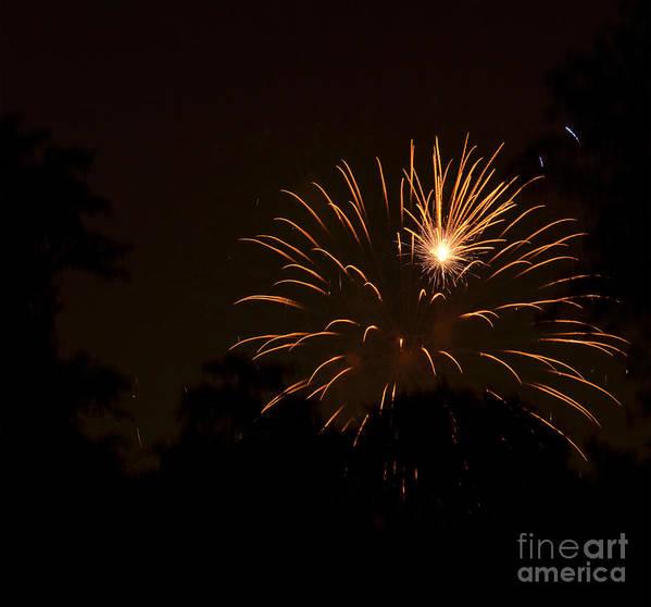 Fireworks Art Print featuring the photograph Orange Rocket Bursts by Linda Steele