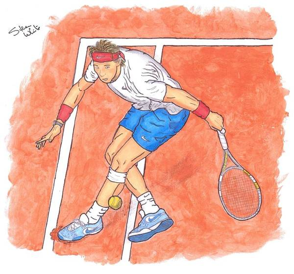 Rafael Nadal Art Print featuring the painting Rafa On Clay by Steven White