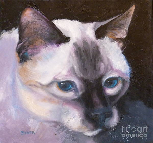 Cat Art Print featuring the painting Siamese Royalty by Susan A Becker