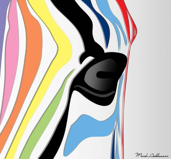 Zebra Art Print featuring the digital art Zebra 1 by Mark Ashkenazi