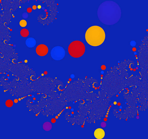 Circle Art Print featuring the digital art Azure Azzuro by Monica Ghit