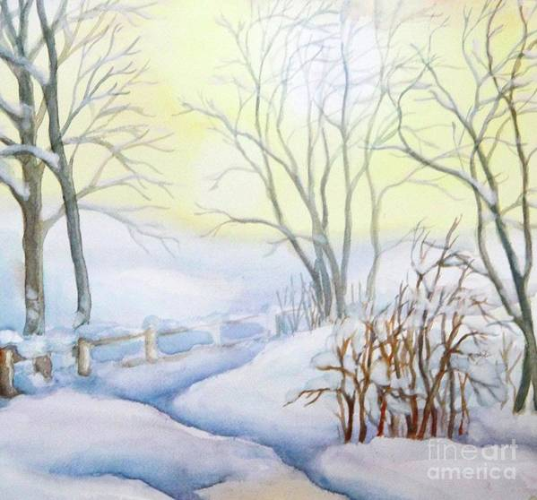 Winter Painting Art Print featuring the painting Backyard Winter Scene by Inese Poga