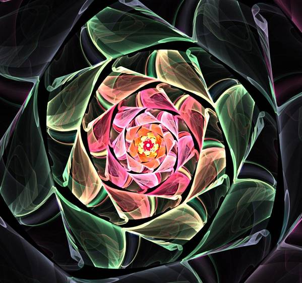 Fine Art Art Print featuring the digital art Fantasy Floral Expression 111311 by David Lane