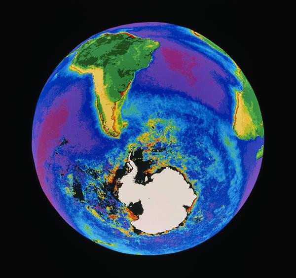 Phytoplankton Distribution Art Print featuring the photograph Global Biosphere, Southern Hemisphere, From Space by Gene Feldman, Nasa Gsfc
