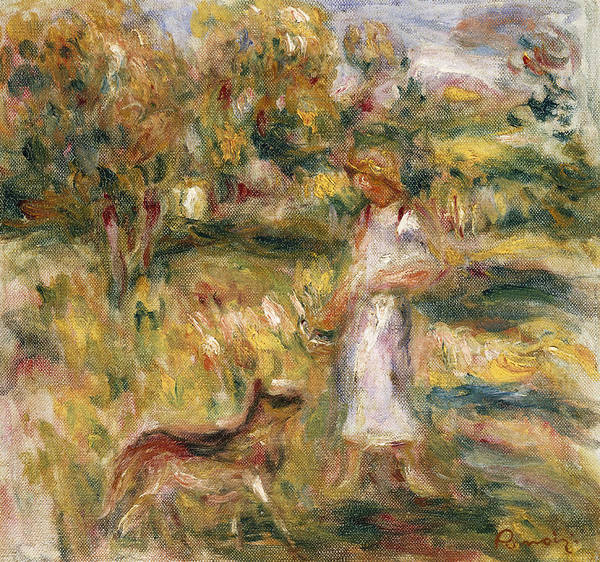 Pierre Auguste Renoir Art Print featuring the painting Landscape With A Woman In Blue by Pierre Auguste Renoir