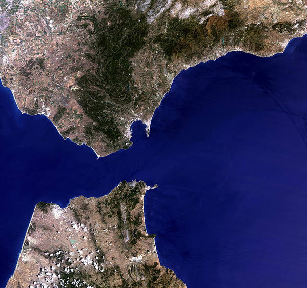Strait Of Gibraltar Art Print featuring the photograph Satellite Image Of The Strait Of Gibraltar by Planetobserver