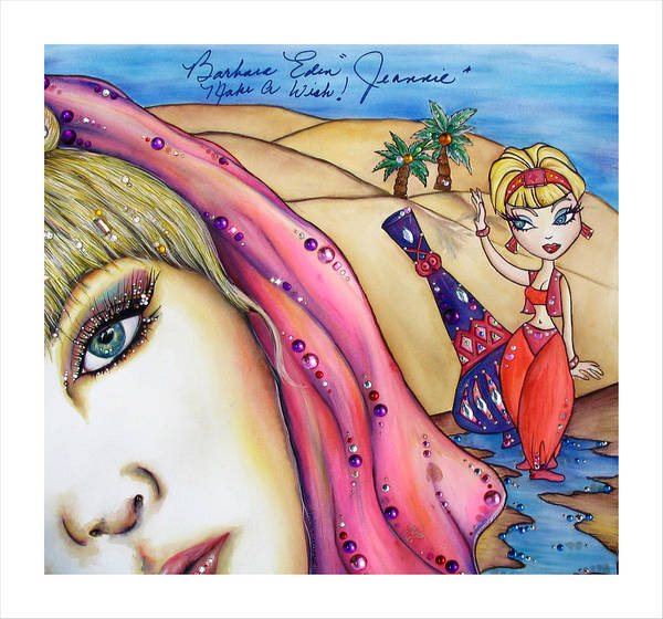 Barbara Eden Art Print featuring the mixed media Make A Wish by Joseph Lawrence Vasile