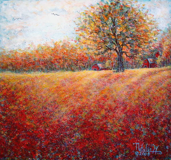 Autumn Landscape Art Print featuring the painting A Beautiful Autumn Day by Natalie Holland