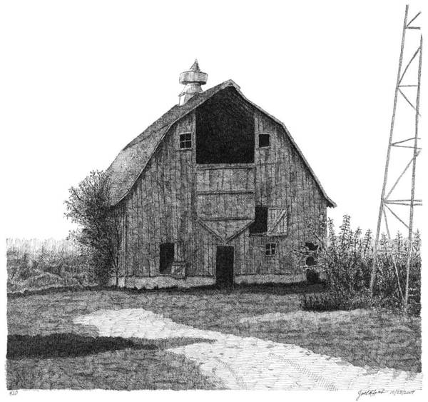 Barn Art Print featuring the drawing Barn 10 by Joel Lueck