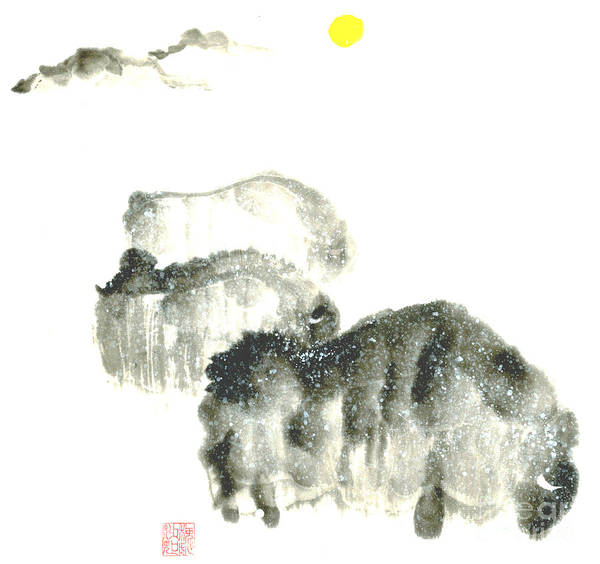 A Herd Of Bison Grazing In Snow. This Is A Contemporary Chinese Ink And Color On Rice Paper Painting With Simple Zen Style Brush Strokes.  Art Print featuring the painting Bison In Snow II by Mui-Joo Wee